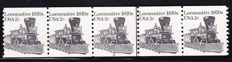 United States Nr.1897a Plate Number Strip of 5. 2c Locomotive 1870's