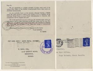 COOK ISLANDS - 1971 - MAUKE CDS /REPLY-CARD TO ENGLAND FRANKED 3P MACHIN -scarce