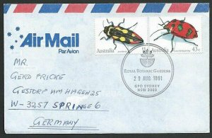 AUSTRALIA 1991 cover to Germany - nice franking - Sydney Pictorial pmk.....47305