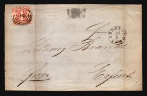 Thurn & Taxis SC# 18 on 1866 Cover / FRONT ONLY - Z17224