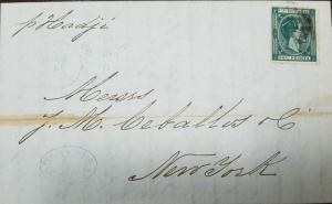 A) 1879 PUERTO RICO, MAYAGUEZ ON DOUBLE WEIGHT FOLDED LETTER TO USA, FORWARD AGE