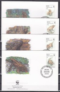 Virgin Is., Scott cat. 791-794. WWF-Iguana issue. 4 First day covers. ^