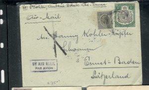 TANGANYIKA  COVER (P2908B) 1933  KGV    1/-+50C  A/M COVER TO SWITZERLAND