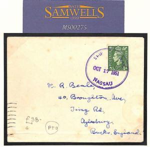 GB USED ABROAD BAHAMAS Cover 1951 KGVI Ship Mail Nassau *MV SALAMANCA* MS275