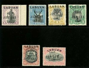 Labuan 1896 QV Jubilee Issue set complete superb MNH. SG 83-88. Sc 66-71.