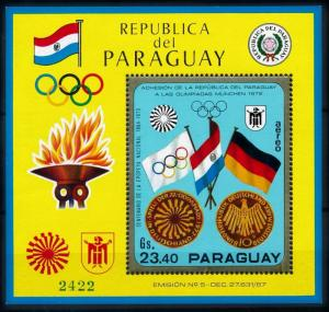 [72481] Paraguay 1970 Olympic Games Munich Flags Souvenir Sheet MNH