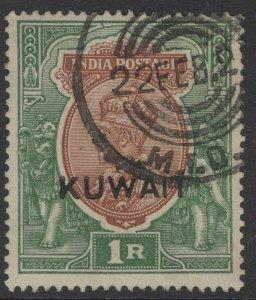 KUWAIT SG25 1929 1r CHOCOLATE & GREEN USED