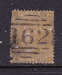 Great Britain a QV 9d straw from the 1862 series