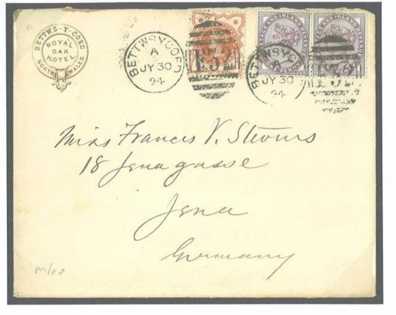 G170a GB WALES Cover 1894 *Bettys-y-coed* ROYAL OAK HOTEL Caernarvon GERMANY