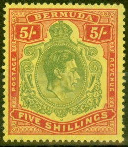 Bermuda 1950 5s Yellow-Green & Red-Pale Yellow SG118f Fine & Fresh Mtd Mint