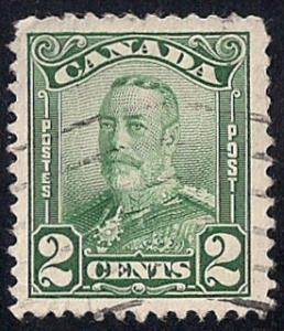 Canada #150 2 cent King George 5, Green Stamp used XF