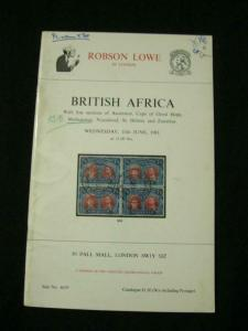 ROBSON LOWE AUCTION CATALOGUE 1981 BRITISH AFRICA with ASCENSION CAPE MADAGASCAR