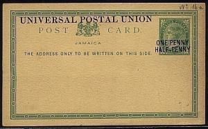 JAMAICA QV 1½d on 3d UPU postcard fine unused..............................19102
