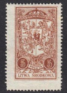 Central Lithuania Scott 39 F+ mint OG H on pelure paper.