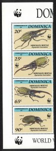 Dominica WWF Hercules Beetle Strip of 4v Logo SG#1799-1802 MI#1804-1807