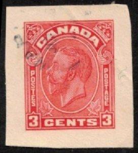 CANADA 1933 KING GEORGE V 3c #U48 VF USED CUT SQUARE FROM POSTAL STATIONERY