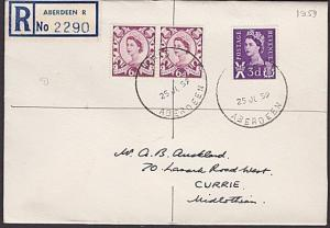 GB SCOTLAND 1959 Reg cover RHAS / ABERDEEN skeleton cds - Royal Show.......67236