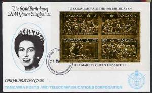 Tanzania 1987 Queen's 60th Birthday imperf souvenir sheet...