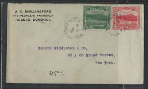 DOMINICA  COVER (P1902B)  1918 1/2D+1D ON COVER TO USA