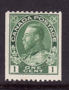 Canada-Sc#131-Unused 1c dark green Admiral coil-hinged-1915-24-