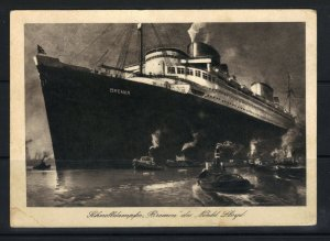 Germany New York 1936 N D L Seepost Ship Mail Picture Postcard F (hseb1)