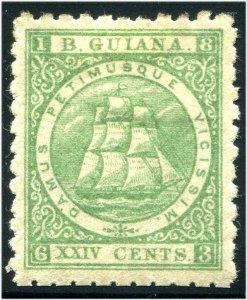 HERRICKSTAMP BRITISH GUIANA Sc.# 65B 1863 Seal of the Colony Mint LH