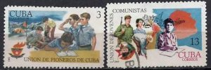 CUBA Sc# 1389-1390  COMMUNIST YOUTH ORGANIZATION Cpl set of 2  1969  used cto