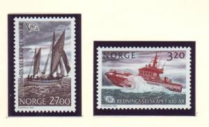 Norway Sc 993-4 1991 Lifeboat Service stamp set mint NH