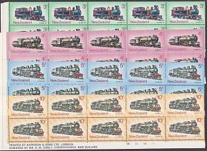 NEW ZEALAND 1973 Locomotives set plate / imprint blocks of 10 MNH...........3188
