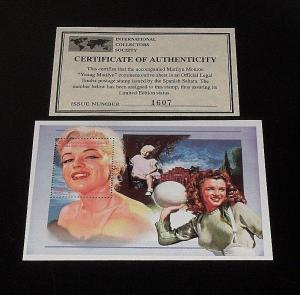 Sahara MNH S/S Young Marilyn Monroe 1996 COA included