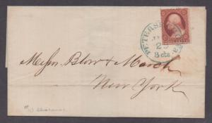 **US 19th Century Cover, SC# 25 (TypeI) Blue #43 Petersburg, VA CDS