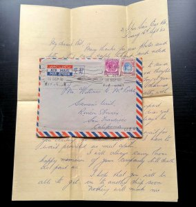 VERY RARE MALAYA PENANG 1952 COVER+ LETTER TO USA WITH RECEIVING CANCEL ON BACK
