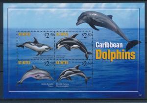 [36592] St. Kitts 2011 Marine life Dolphins MNH Sheet