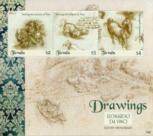 Tuvalu 2019 MNH Leonardo Da Vinci Drawings 500th Memorial 3v M/S I Art Stamps