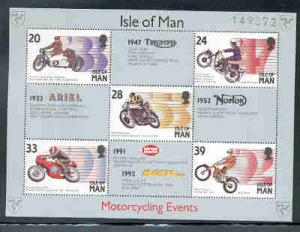 Isle of Man  Sc 566a 1993 Motorcycle Events stamp souvenir sheet