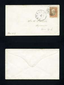 # 65 on cover from New York, New York to Syracuse, New York dated 1860's