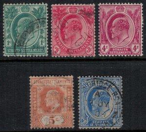 Straits Settlements #129-30,204*/u  CV $8.40