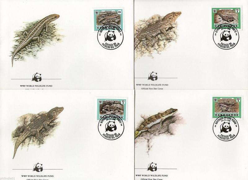 Cape Verde 1986 WWF Desert Island Lizard Reptile Wildlife Sc 491-4 Set of 4 FDCs