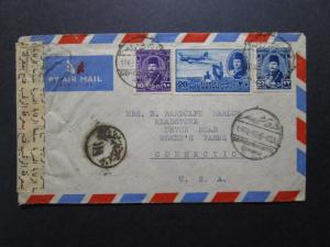 Egypt 1940s Censor Cover to USA - Z7689