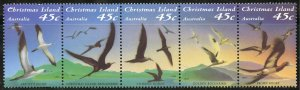 Christmas Island Scott 349 MNHOG - 1993 Seabirds Strip of 5 - SCV $3.75