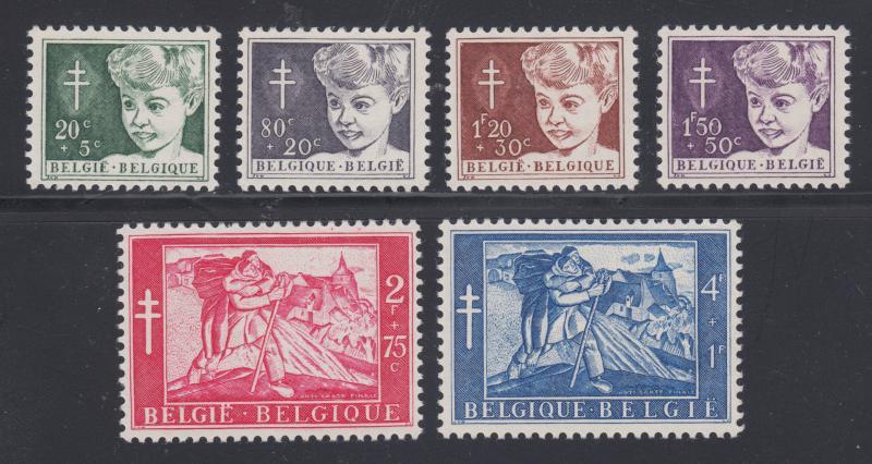 Belgium Sc B567-B572 MNH. 1954 Anti Tuberculosis issue, complete set