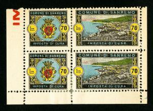 San Remo Stamps # 70Li VF OG H Block of 4