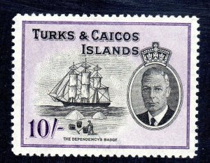 Turks & Caicos  1950   sg 233   10/-  value    LMM  cv £28-- 2021