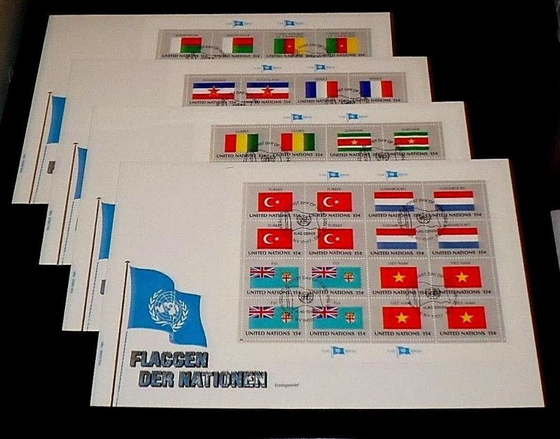 U.N. 1980, FLAG SERIES FULL SHEETS/16 ON 4 OVER SIZED COVERS, FDC NICE! LQQK!