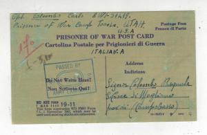 1945 Camp Tooele UT Italian Camp Postcard Cover to Italy Prisoner of War POW