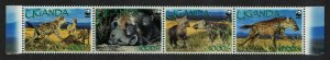 Uganda WWF Spotted Hyaena Strip of 4v 2008 MNH SC#1892a-d SG#2551-2554