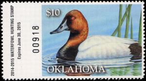 OKLAHOMA  #35  2014 STATE DUCK STAMP CANVASBACK  By Shea Meyer