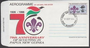 PAPUA NEW GUINEA 1996 Boy Scouts 50t aerogramme First Day cancel............L637