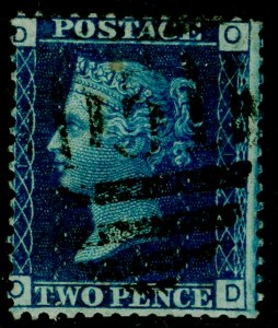 SG47, 2d dp blue plate 13, USED. Cat £30. OD