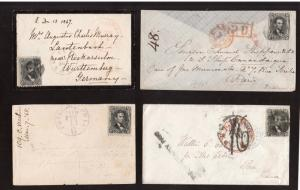 USA #77 Five Lovely Used Cover Collection To France, Germany & Italy